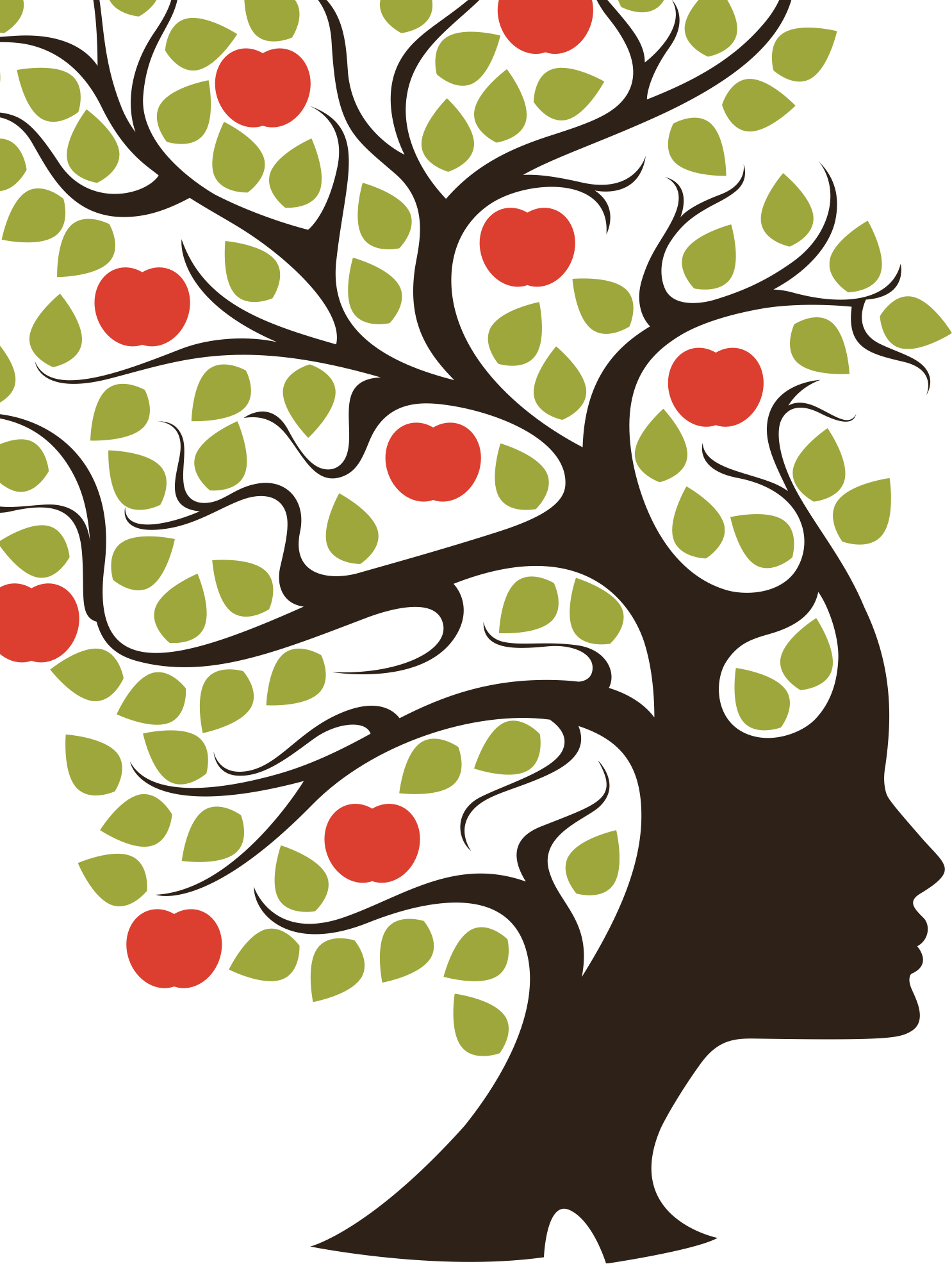 Woman with branches for hair, with leaves and apples on