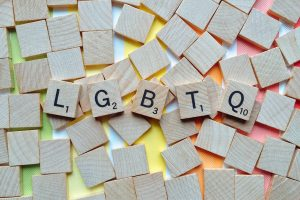A picture of Scrabble pieces that spell out LGBTQ